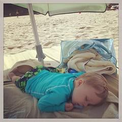 Sleeping beach baby