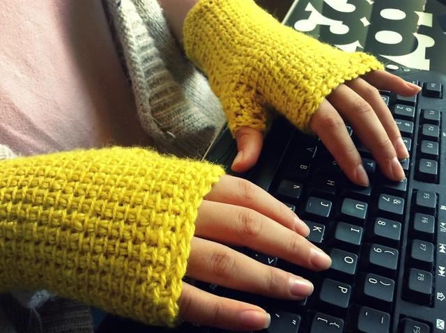 Crochet: guantes sin dedos , mitones