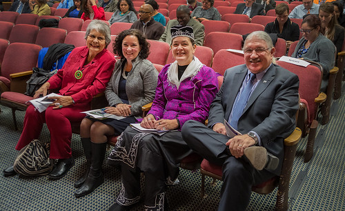 (Left to right) Educator and former government official Ada Deer, Rural Development's Deputy Under Secretary Patrice Kunesh (Standing Rock Lakota), Office of Tribal Relations Director Leslie Wheelock (Oneida) and the Forest Service's Deputy Under Secretary Butch Blazer (Mescalero Apache) at the USDA Native American Heritage Month observance at the Jefferson Auditorium at USDA. Photo by Bob Nichols.