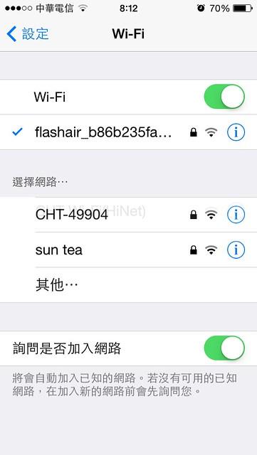 會在 wifi 看到一台可連線裝置,預設 SSID 是 flashair 開頭的(SSID 可修改)@TOSHIBA FlashAir 記憶卡