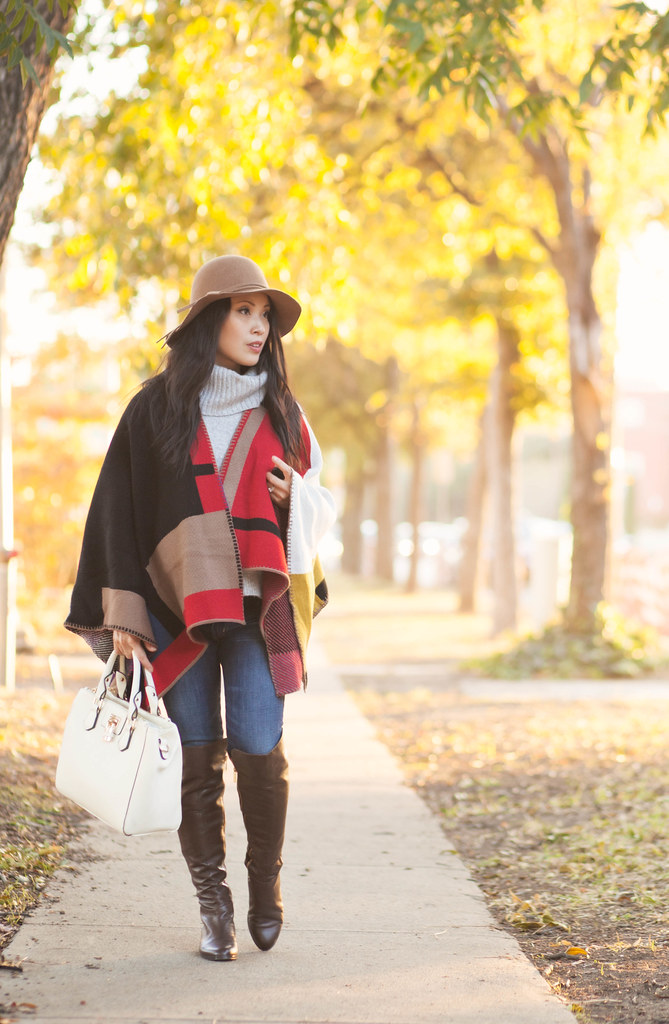 cute & little blog | petite fashion | sheinside burberry colour block check blanket poncho, gray cowl sweater, maternity jeans, michael kors bromley otk boots, felt floppy hat | maternity baby bump pregnant | fall winter outfit