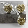 Gold Druzy Heart Rings and Necklace