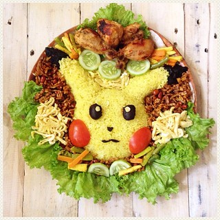 A special #pikachu Indonesian yellow rice to celebrate @arwen04 's birthday.