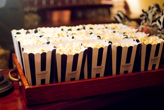 Popcorn in black and white striped boxes