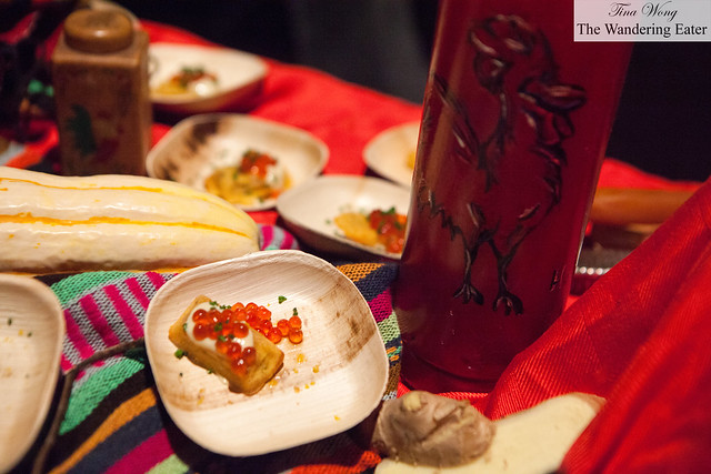 """Birdie cakes"" with marinated salmon roe and jerk creme fraiche by Red Rooster Harlem"