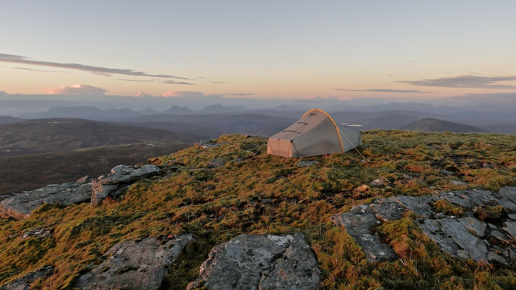 Wild camping with views of Assynt