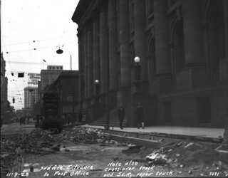 Paving Third Avenue in front of post office, 1928