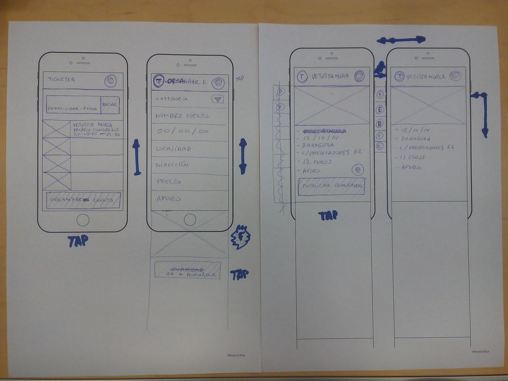 Wireframes incluyendo las interacciones de la app.