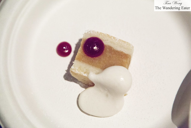 Apple bar with hickory cream and cranberry jam by Gramercy Tavern's Miro Uskokovic