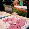 We snatched up several Mo Willems books at the library. The Tessa is happy. #kinderfirst #itssogoodtobeatessa #happypigday #mowillems #vscocam