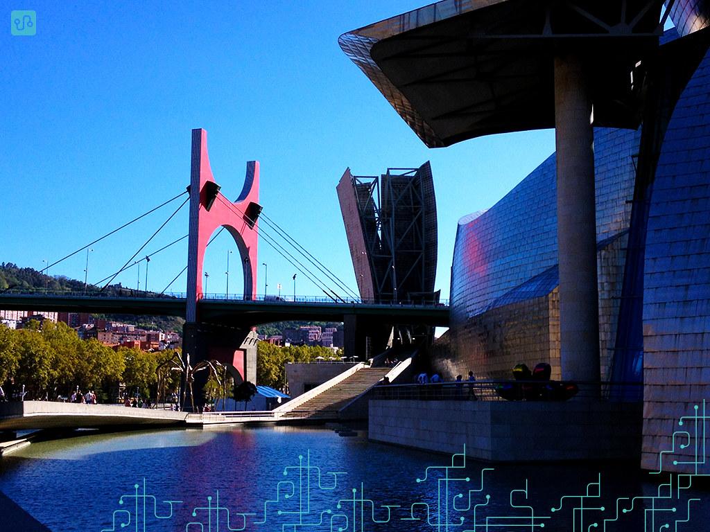 Ponte 'Príncipes de España' vista da fachada norte do Museu Guggenheim