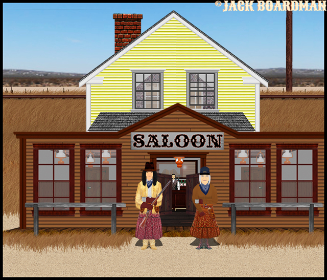 Lacy & Christine walked outside the saloon