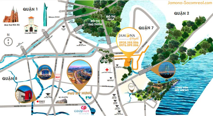 Bản đồ vị trí dự án Jamona Heights - Sacomreal.