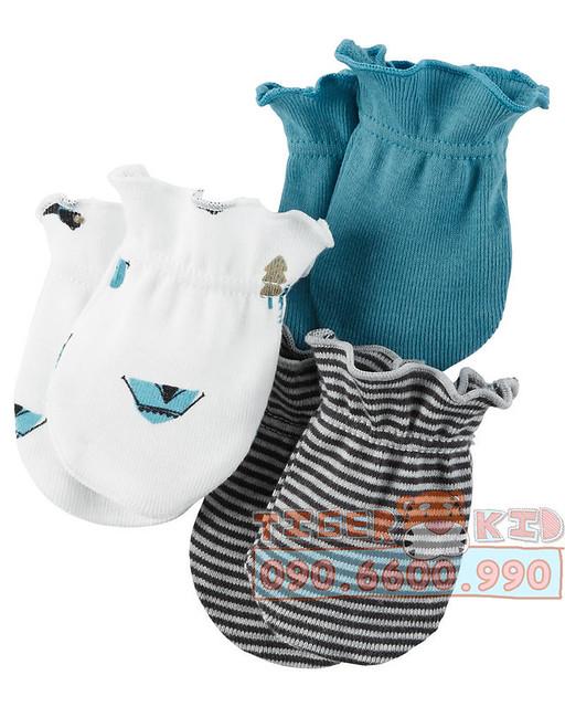 Quần áo trẻ em, bodysuit, Carter, đầm bé gái cao cấp, quần áo trẻ em nhập khẩu, Set 3 bộ bao tay Carter's nhập Mỹ