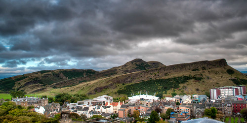 Arthur's Seat and the bottom of the Royal Mile