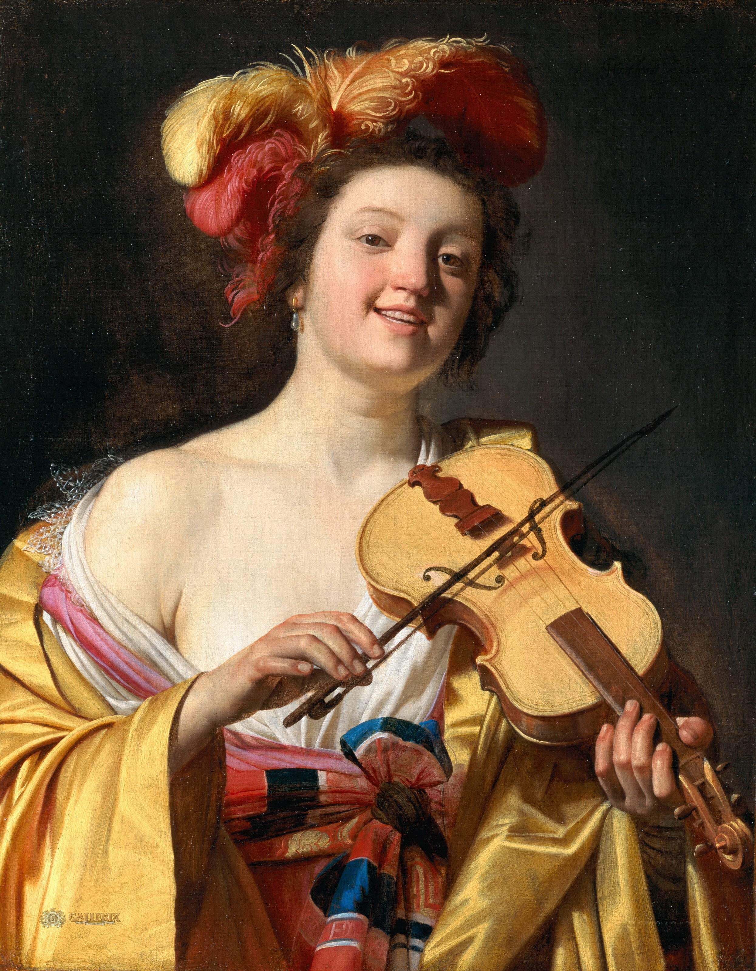 Gerrit van Honthorst - A Woman Playing the Violin [1626]