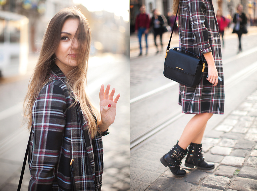how-to-wear-plaid-coat