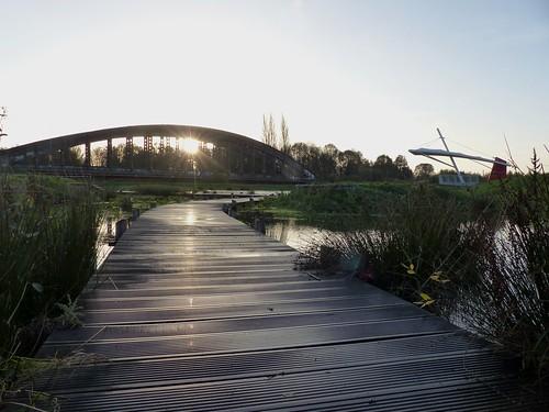bridge sunset sun france soleil pont nord valenciennes friche anzin vallourec