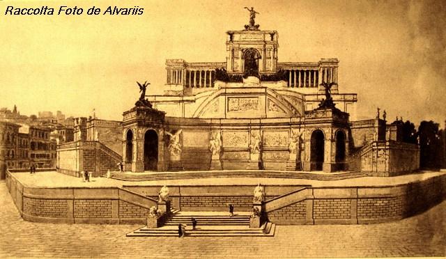 1882 L'Emanuellion di E. Ferrari e Pio Piacentini bozzetto presentato al concorso per il Monumento a V. Emanuele II