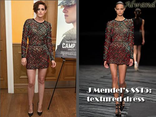 Kristen Stewart in J. Mendel SS15 red and green textured black sheer dress