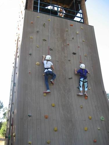 Kimberly and Tessa rock climbing