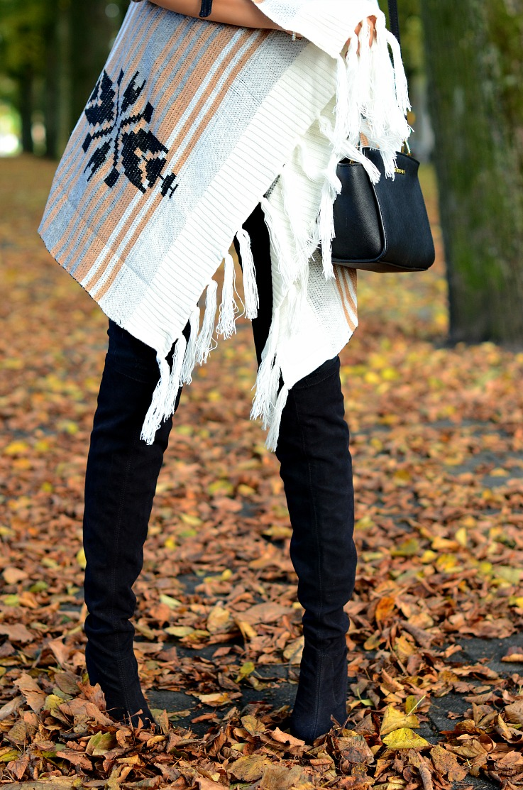 DSC_1244 Over The Knee Boots, SheInside Poncho, Michael Kors Selma bag, Tamara Chloé