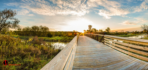bridge autumn orange fall composite wisconsin clouds sunrise canon landscape dawn unitedstates hike trail waukesha foxriver hdr landscapephotography discoverwisconsin travelwisconsin 5dmarkiii rivercrossingpark