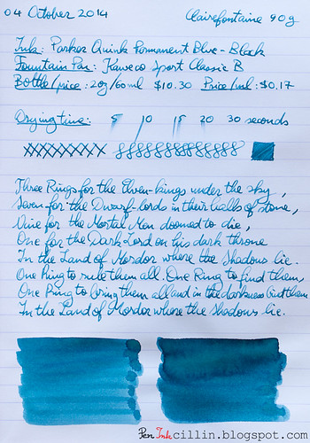 Parker Quink Blue Black on Clairefontaine