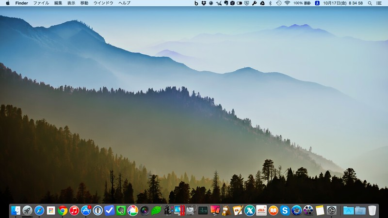 Yosemiteのデスクトップ