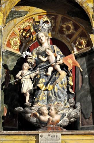 Arenillas de Riopisuerga (Burgos). Iglesia de Santa María. Retablo rococó. Virgen del Rosario