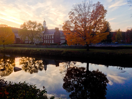 school sunset sky building water reflections stream odc iphone5 seasonalweather