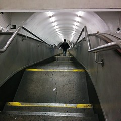 Folks taking the stairs at speed on the underground put me in mind of caper movies and fugitives. #toomuchdaydreaming