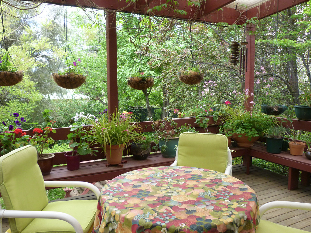 My deck with hanging baskets