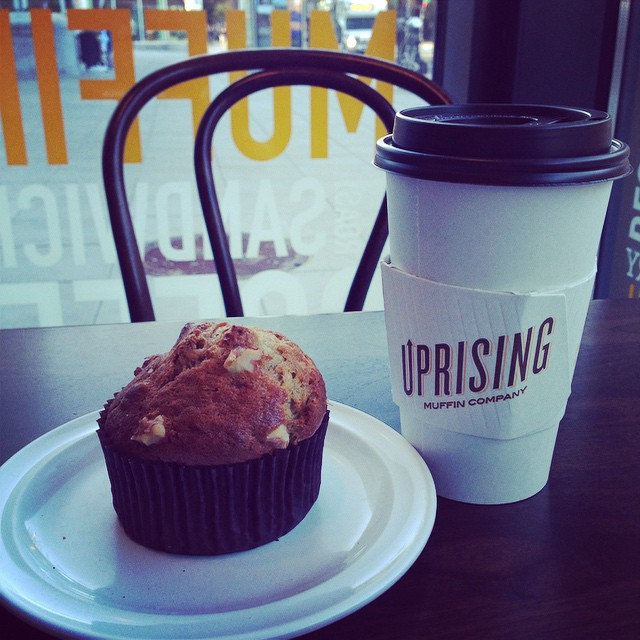 Banana walnut muffin and coffee for #coffeeneuring 3