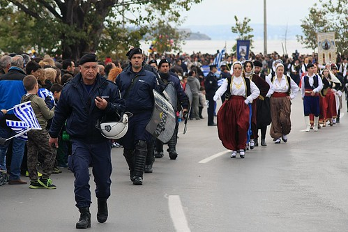 Riot police on duty during Greek celebration.