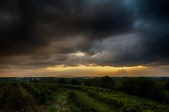 October rainy sunset