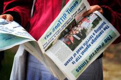 newspaper, reading,