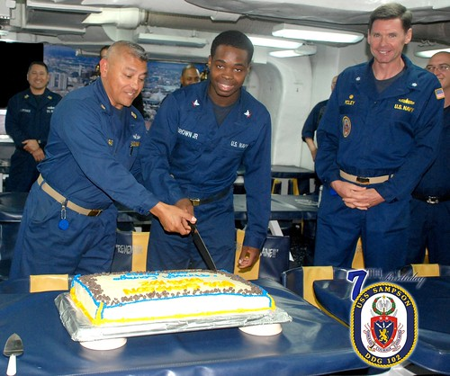 USS Sampson Observes Seventh Birthday at Sea