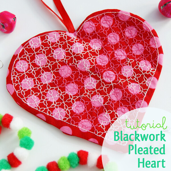 Blackwork Pleated Heart