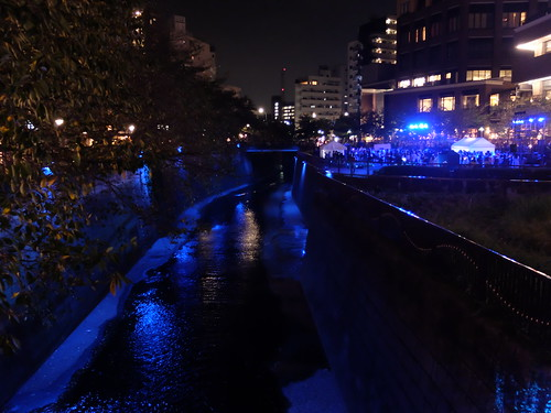 Megurogawa river Nakameguro Blue Halloween 01