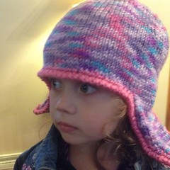 #crochet border done. She wasn't in the mood to model. #knit #hat