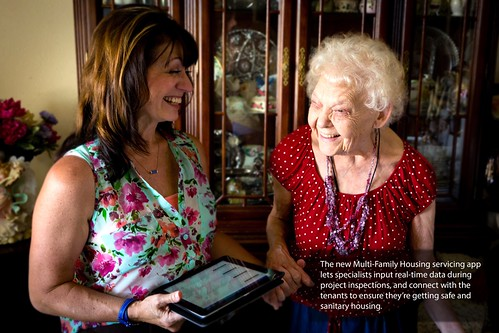 Rural Development Specialist Lea McGiboney and Fort Benton, Montana resident Velma Hansen share a laugh as Lea makes sure the Canyon Villas Apartments are providing safe and affordable homes for Velma and her neighbors.