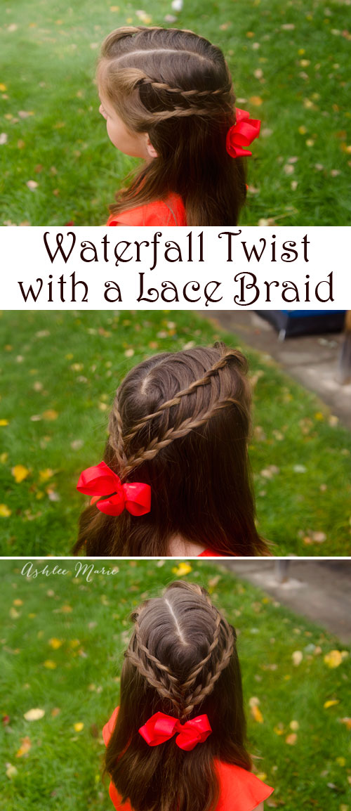 bring together a waterfall and lace braid for a pretty hairstyle from the book amazing hairstyles by becky porter