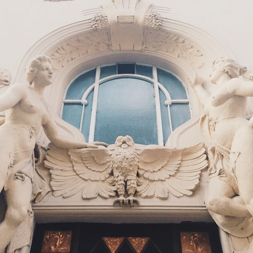 Goddesses and owls feature in a lovely Art Nouveau facade, you'll find gorgeous architecture like this all over Prague.