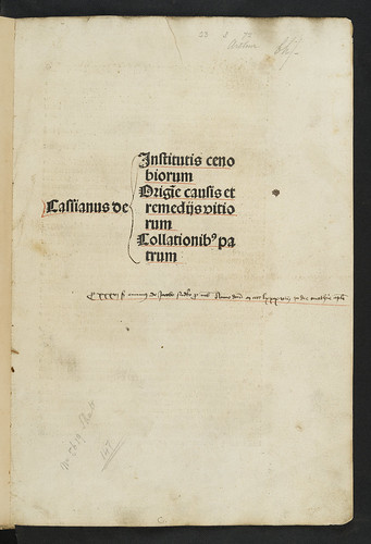 Title-page of  Cassianus, Johannes: De institutis coenobiorum