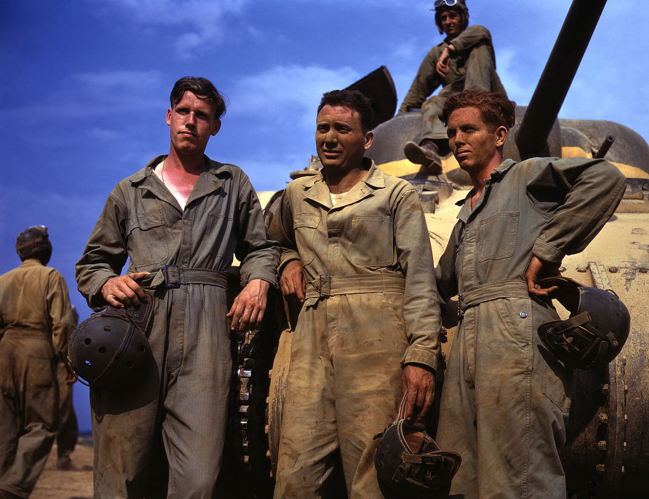 Tank crew standing in front of M4 Sherman tank; Fort Knox, Kentucky, 1942