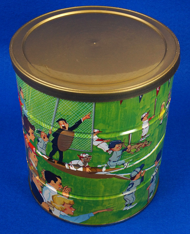RD14955 Vintage 1966 Butter-Nut 3 lb Coffee Can Youth League Baseball Plastic Lid DSC06639