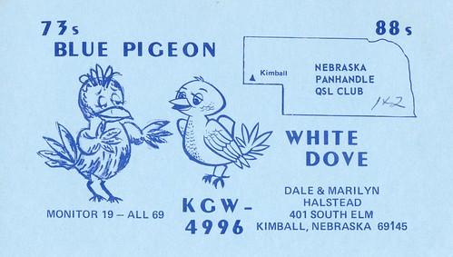 Blue Pigeon & White Dove - Kimball, Nebraska