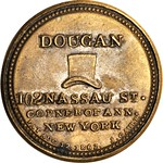 1862 Dougan the Hatter. Three Cents reverse