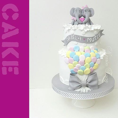 💓S&M💓 çiftine bir ömür boyu mutluluklar.. 💟 #cake #weddingcake #ballons #elephants #love #nesrintong